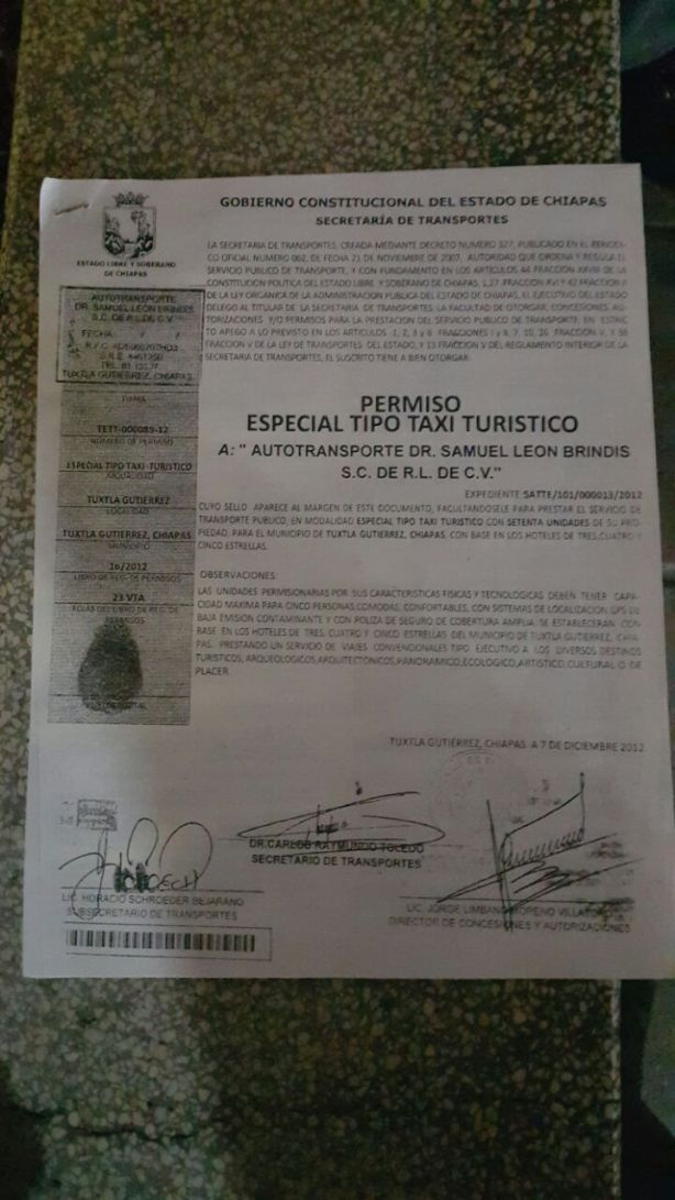 PERMISO ILEGAL FALSIFICADO Y TRABAJANDO